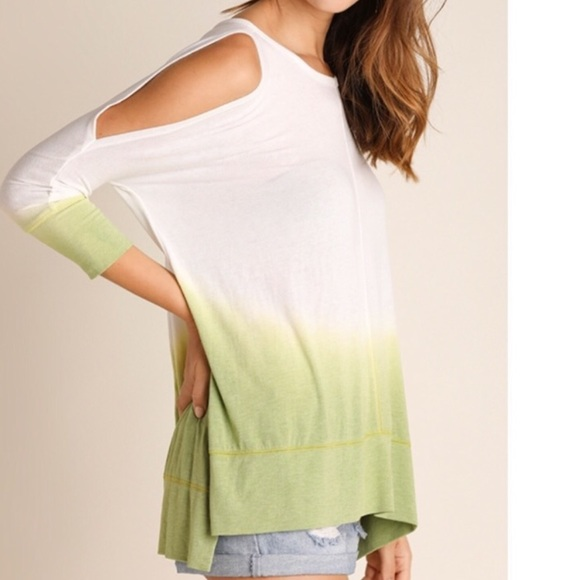 Tops - Green Dip Dye Washed Ombre Cold Shoulder Tunic